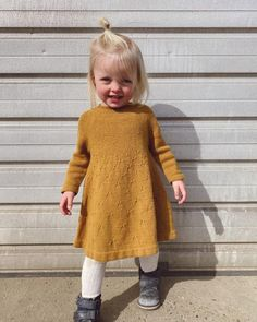 Ravelry: Dandelion Dress pattern by PetiteKnit Chunky Knitting Patterns, I Cord, Baby Vest, Knit In The Round, Holiday Sweater, Knitting For Kids, Facon, Baby & Toddler Clothing, Knit Dress