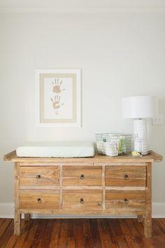 Simple nursery- I like the changing table. White Nursery, Rustic Nursery, Nursery Neutral, Wood Nursery, White Changing Table, Changing Table Dresser, Baby Bedroom, Nursery Room, Nursery Decor