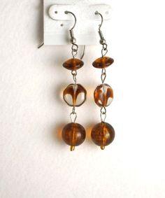 Honey Brown Caramel Clear Swirl Earrings by nenafashions on Etsy