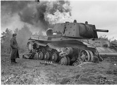 Destroyed KV-1 burning bright