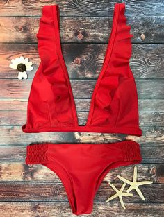 $20.99 Ruffles Plunge Bathing Suit - RED L