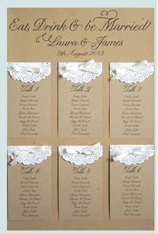 Paper Lace Table Plan by STNstationery on Etsy - Wedding Cards, Diy Wedding, Rustic Wedding, Wedding Ideas, Cheap Wedding Invitations, Wedding Stationary, Tableau Marriage, Wedding Table Seating, Paper Lace