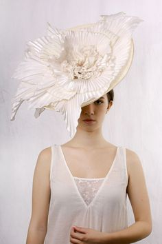 Stunning Giant flower wedding hat made by hand. Statement wedding ivory headpiece - this hat is astonishing haute couture bridal statement