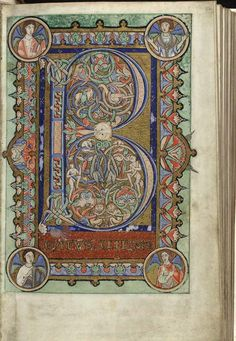 The Hunterian Psalter, England: c. 1170. Folio 22r: full page miniature incorporating Beatus Initial