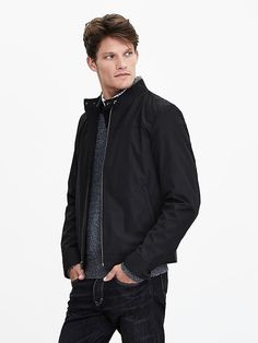 Black Moto Zip Jacket | Banana Republic