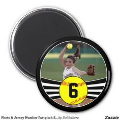CUSTOMIZABLE Photo & Jersey Number Fastpitch Softball Magnets! Add your own picture and jersey number! #softball #fastpitch #customizable #seniorgifts