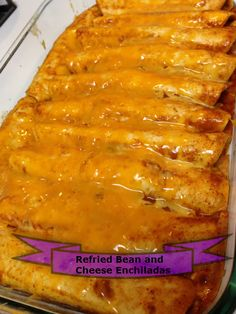 Refried Bean and Cheese Enchiladas! I think I'd use ricotta instead of cottage cheese, and maybe add some mexican rice to the mixture. Sounds good!