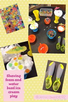 Shaving foam and water bead ice cream play. EYFS
