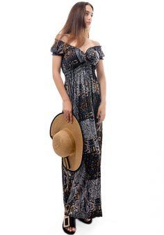 ΦόρεμαMiss Pinky maxi με σχέδια ethnic. Τοφόρεμαέχει ανοιχτό V ντεκολτέ και κοντό μανίκι που στο τελείωμα του έχει λάστιχο One Shoulder, Shoulder Dress, Ethnic, Womens Fashion, Dresses, Vestidos, Women's Fashion, Dress, Woman Fashion