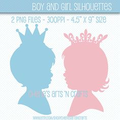 Children's Silhouettes With Crowns Pink and by CheriesArtsnCrafts