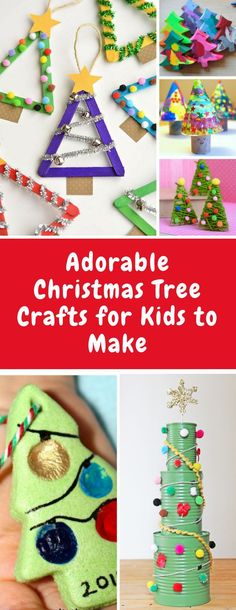 Christmas Tree Crafts for Kids to Make - Your kiddos will have so much fun making these crafts - there's everything from popsicle stick trees to melted crayons, tin cans, and of course yarn and pom poms!