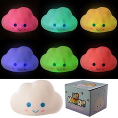 Decorative LED Light - Colour Change Kawaii Cloud  PLEASE NOTE:- This item is only available in one design, when turned on the LED light rotates between multiple colours creating the colour change effect.  Add colour and style to your home with our range of LED lights.