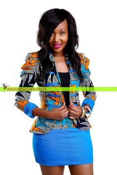 I'd LOVE this African print jacket..the skirt is killer too!!