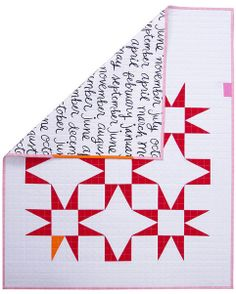 A modern red & white star baby quilt by Red Pepper Quilts. Love the pink with red!