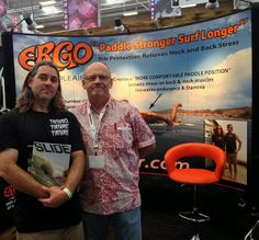 Slide Magazine editor, Ryan Smith (left) with PaddleAir founder Dave Hilts at the PaddleAir Ergo booth at The Boardroom International Surfboard Show, May 17-18, 2014, Del Mar Fairgrounds, California.