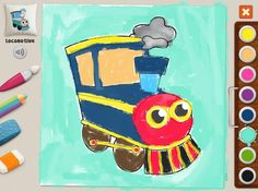 """Locomotive"" Michal (age 52) #memollow #painting #kids Jolly Machines #coloring"