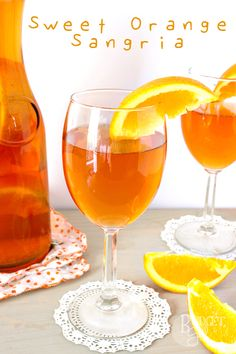 Sweet Orange Sangria --- Sweet Orange Sangria is made with moscato, orange tea, and orange slices. This orange sangria is light, citrus-y, and perfect for summer evenings.