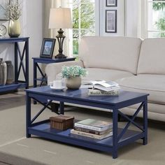 Beachcrest Home Stoneford Coffee Table Color: Cobalt Blue Blue Coffee Tables, Modern Coffee Tables, Coffee Table With Storage, Decorating Coffee Tables, Table Storage, Ottoman Decor, Diy Ottoman, Basement Furniture, Basement Stairs