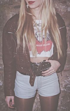 80s look II w/ brown leather jacket levi's shorts concho belt cross earring red lips (Ingrid Segura)
