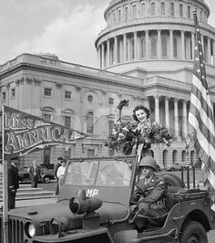 Venus Ramey, Miss America 1944 -  Her war efforts in this area resulted in a Special Citation from the United States Treasury Department. In her honor her picture was adorned on a B-17 fighter plane, which made 68 sorties over war-torn Germany and never lost a man. The story made the Associated Press.