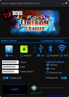 Unison League Hack iOS Android Cheats Download Unison League Hack iOS Android Cheats only at: http://devilhackz.com/07/unison-league-hack-ios-android-cheats/  Unison League Hack iOS Android Cheats – Unlimited Gems, Unlimited Gold, Unlimited Friend Points, Double EXP, Unlimited AP. For All iOS and Android Devices. Working without Jailbreak or Root at Your Device. Free in Use Unison League Hack. Working Free Unison League Hack Tool.   Unison League Hack iOS Android Cheats Features: •	Unlimited…