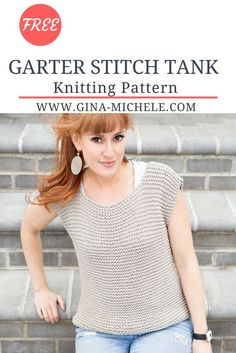 Free knitting pattern for this EASY Garter Stitch Tank! #knitting #knittingpattern