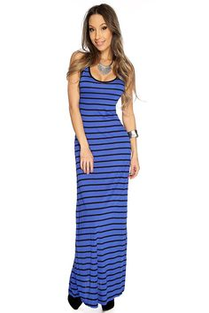 Rock your maxi dress anyway you want! Featuring scoop neck, sleeveless style, two tone, crisscross back, horizontal stripe followed by a loose fitted wear. Put on your favorite sandals worth this beautiful maxi dress and enjoy a fun day out at the beach! 73% Rayon 2% Polyester Made in U.S.A