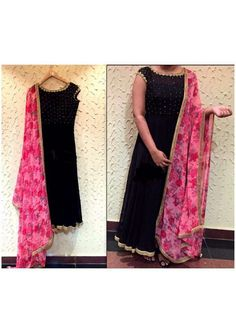 Plain suit with floral dupatta