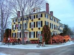 The Captain Lord Mansion, an Historic Maine Coast bed and breakfast decked out for the holidays.