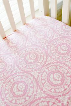 Pink Damask Crib Sheet | Pink Baby Bedding | Girl Nursery