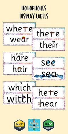 This pack contain sets of homophone for display. Each homophone has a picture to help aid meaning and spelling.  There are two versions:  Cursive using CCW Writing 1 Font Non Cursive using Sassoon Infant Font Ideal to display in your classroom.