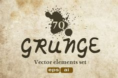 70 Grunge texture - Vector elements set with AI, EPS and JPEG files format.