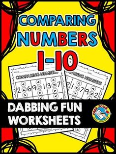 #DOLLAR #DEAL!  #COMPARING #NUMBERS 1 TO #10 #WORKSHEETS - #DABBING FUN: #MATH #CENTER #K.CC.C.7   This print and go mini pack (focusing on numbers 1 to 10 ) is lots of fun for children and contains 10 simple worksheets. Students compare two numbers and dab the circle with the correct answer: <, = or >). You could also ask children to color the circle instead.  Children can build towers to represent the numbers using unifix cubes if they are still struggling with number value.