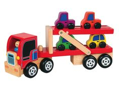 We're always hearing great things about this toy from our customers. Drive the four individual cars onto the ramp, fold it up and drive the truck to its destination. Lots of play value in this well made wooden toy. Available at Dilly Dally Kids.