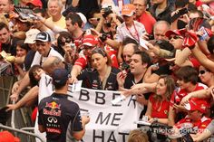 Webber give me your hat! (Wonder if he did?) (Barcelona 2013)