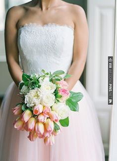 Ombre. White wedding gown with blush pink skirt + rose and tulip bouquet | photo by Brancoprata | CHECK OUT MORE IDEAS AT WEDDINGPINS.NET | #weddings #weddingflowers #weddingbouquets #bouquets