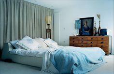 Low, cozy bed.