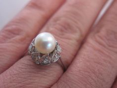 18k White Gold Ring with 0.4 ct Diamonds and by VintageJewelries