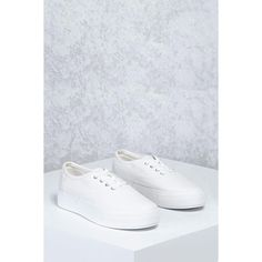 Forever21 Low-Top Canvas Sneakers ($25) ❤ liked on Polyvore featuring shoes, sneakers, white, lace up shoes, white platform shoes, white canvas sneakers, platform shoes and white shoes