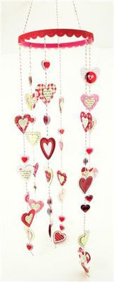 Valentine wind chimes.  These would be great for an outside chime made out of medals, tins or painted woods.