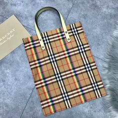 Burberry Small Shopping Tote in Rainbow Vintage Canvas and Fluorescent Leather 2018