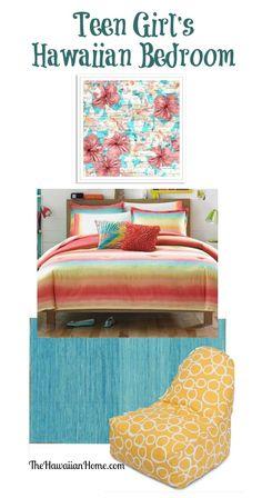 Energetic Teen Girl's Hawaiian Bedroom - The Hawaiian Home