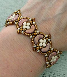 Linda's Crafty Inspirations: Bracelet of the Day: Fina Bracelet - Violet & Ivory