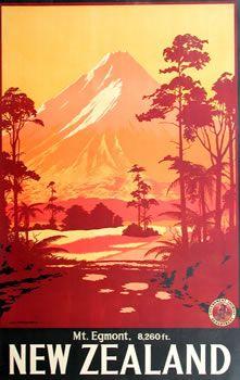 retro Mt Egmont, New Zealand illustrated poster. (Now Mt Taranaki) Pub Vintage, Photo Vintage, Vintage Art, Retro Poster, Vintage Travel Posters, Vintage Postcards, New Zealand Art, New Zealand Travel, Tourism Poster