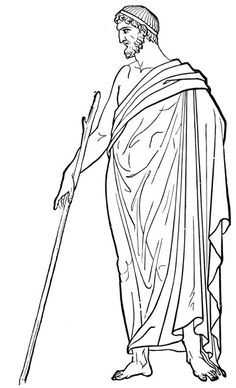 Ancient Greek Costume - This is a drawing a man wearinga himation.