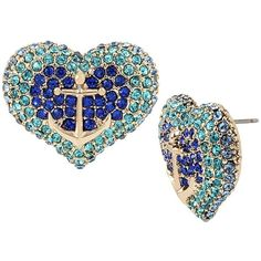 Betsey Johnson Anchors Away Pave Heart Stud Earrings ($42) ❤ liked on Polyvore featuring jewelry, earrings, blue, betsey johnson earrings, post earrings, heart stud earrings, heart shaped earrings and blue heart earrings