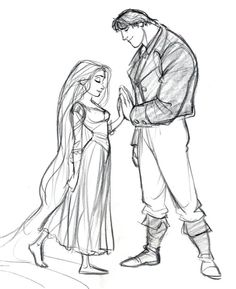Original concept art for Rapunzel and Flynn.