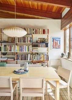 Dining room with a bookshelf