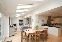 L shaped kitchen diner family room Extension Veranda, House Extension Plans, Extension Ideas, Open Plan Kitchen Dining Living, Open Plan Kitchen Diner, Open Plan Living, Open Kitchen, Kitchen Family Rooms, Living Room Kitchen