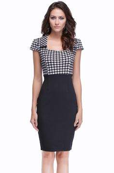Women's Vintage Checked Color block Party Wear To Work Bodycon Sheath Pencil Dress